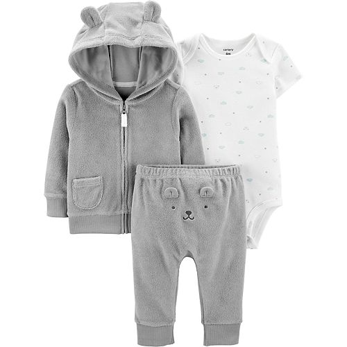 Baby Carter's 3 Piece French Terry Zip Hoodie, Bodysuit & Turn Me Around Pants Set