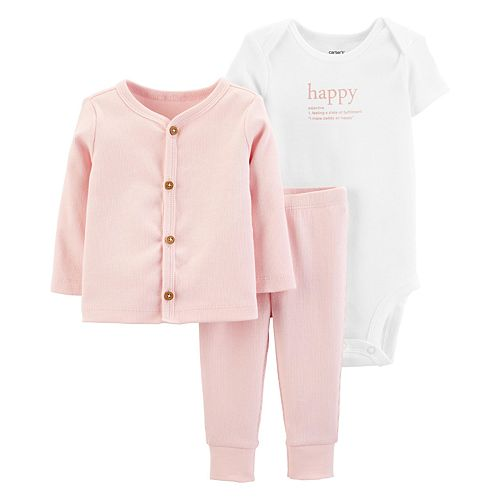 Carters Girls 6-Piece Terry Cardigan and Sleep and Play Set