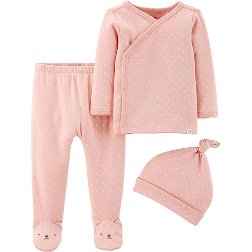 Baby Girl Carter's 3 Piece Take Me Polka Dot Home Kimono Top, Footed Pants & Hat Set