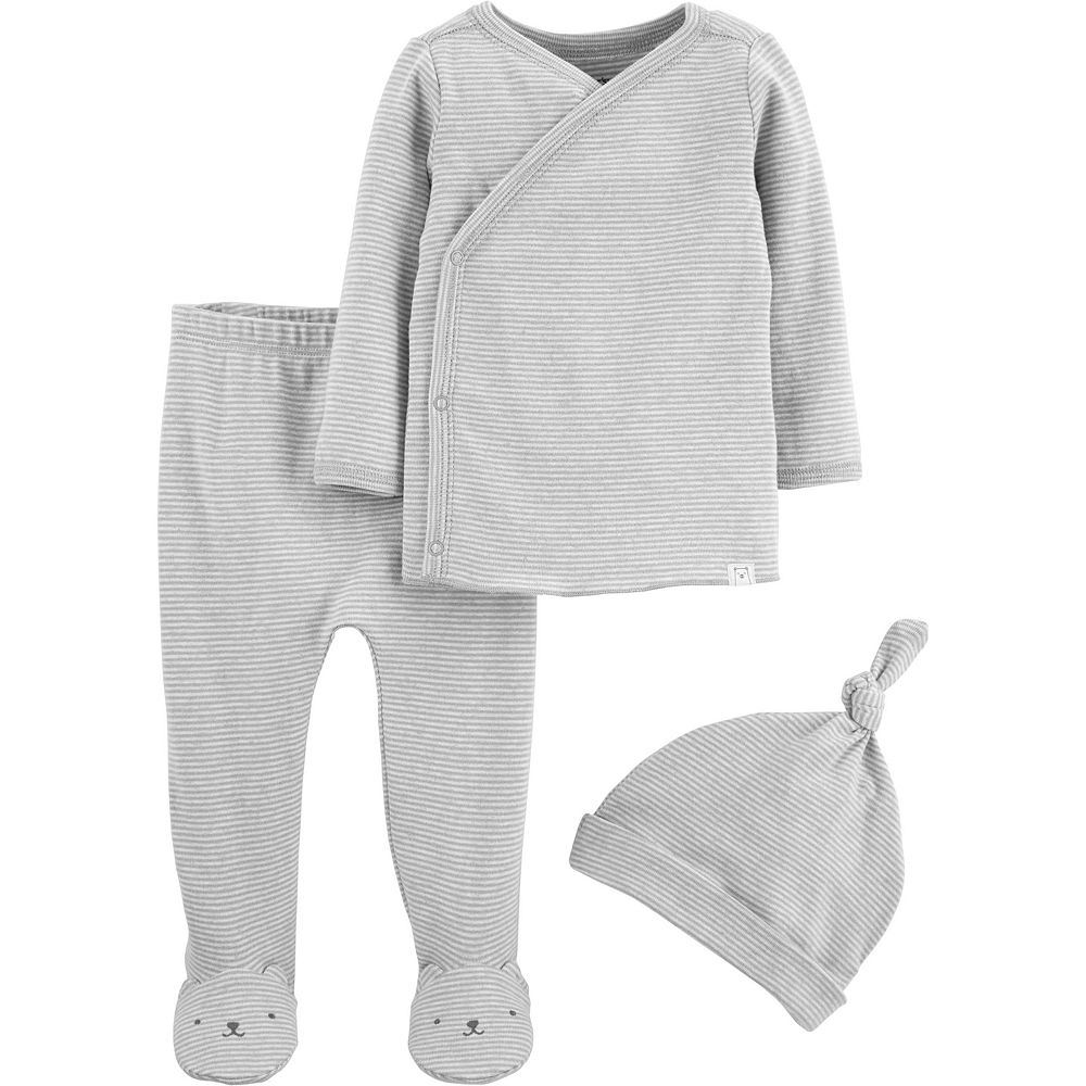 Baby Carter's 3 Piece Take Me Home Striped Kimono Top, Footed Pants & Hat Set