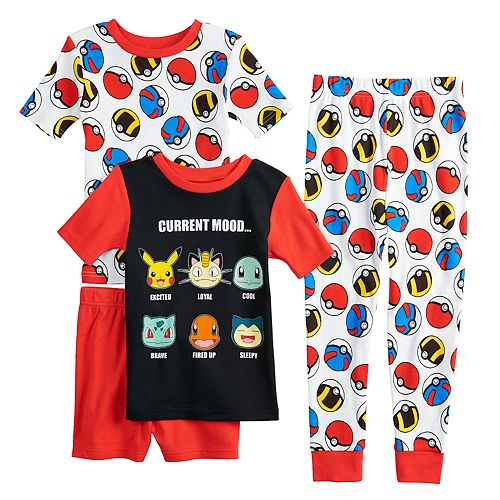 Boys 4-10 Pokemon Face 4-Piece Pajama Set