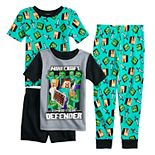 Boys 6-12 Minecraft Defenders 4-Piece Pajama Set