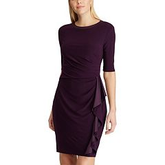 Petite Chaps Ruffle Sheath Dress