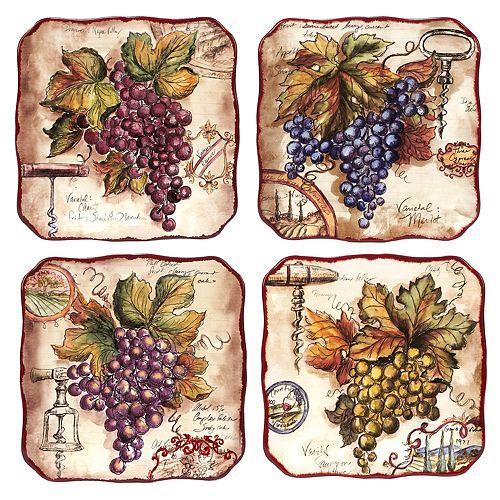 Certified International Vintners Journal 4-pc. Salad Plate Set