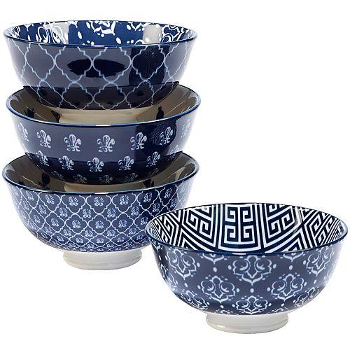Certified International Blue Indigo 4-pc. Ice Cream Bowl Set