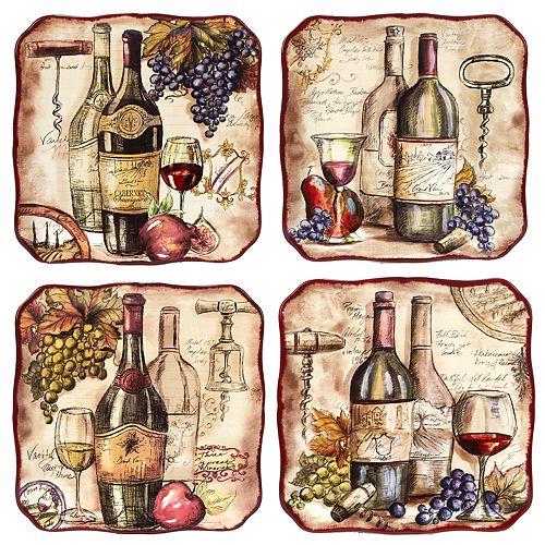 Certified International Vintners Journal 4-pc. Dinner Plate Set