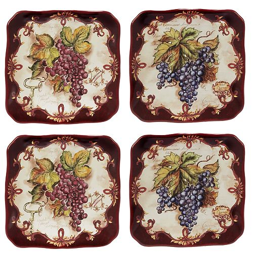 Certified International Vintners Journal 4-pc. Canape Plate Set