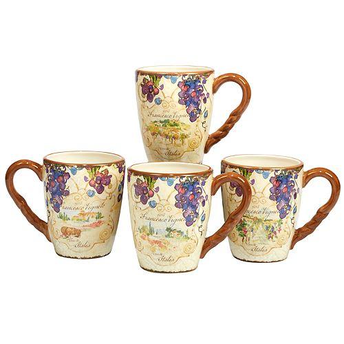 Certified International Vino 4-pc. Mug Set