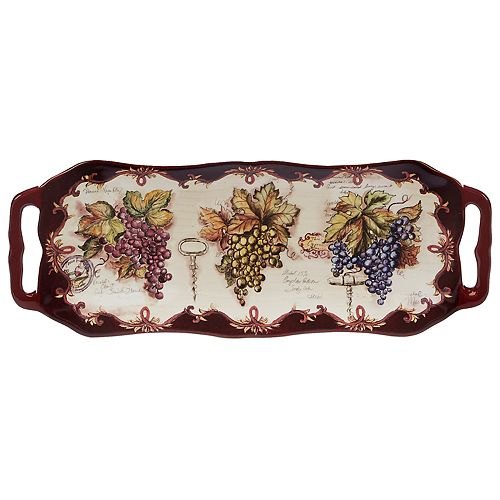 Certified International Vintners Journal Rectangle Platter with Handles