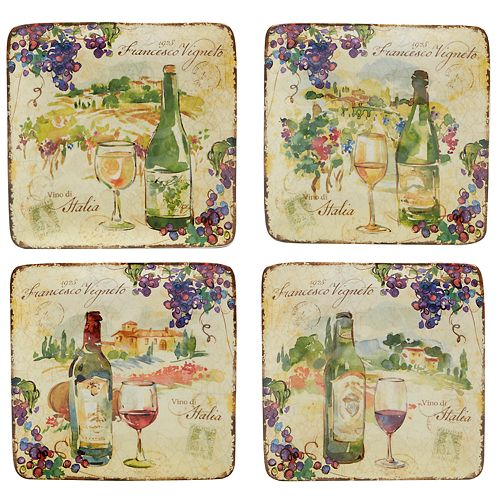 Certified International Vino 4-pc. Canape Plate Set