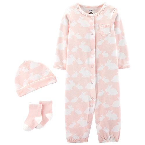 Baby Girl Carter's Take Me Home Bunny Jumpsuit/Gown, Hat & Socks Set