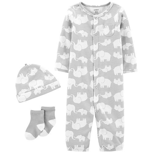 Baby Carter's Take Me Home Elephants Jumpsuit/Gown, Hat & Socks Set