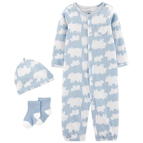 Baby Boy Carter's Take Me Home Bears Jumpsuit/Gown, Hat & Socks Set