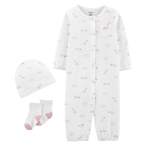 Baby Girl Carter's Take Me Home Jumpsuit/Gown, Hat & Socks Set