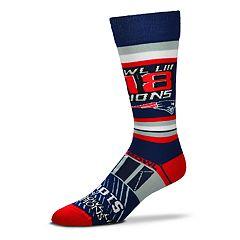 Adult For Bare Feet New EnglandPatriots Super Bowl Champions LIII Striped Crew Socks