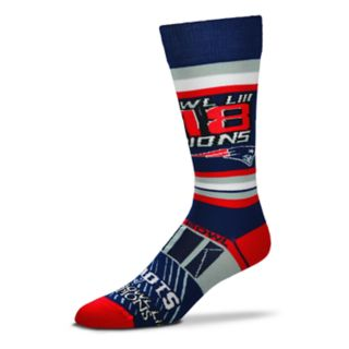 Adult For Bare Feet New England Patriots Super Bowl Champions LIII Striped Crew Socks