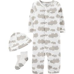 Baby Carter's Take Me Home Hippos Jumpsuit/Gown, Hat & Socks Set