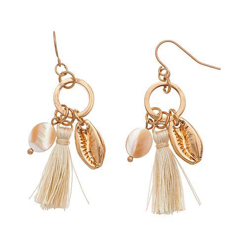 SONOMA Goods for Life™ Shell & Tassel Dangles Earrings