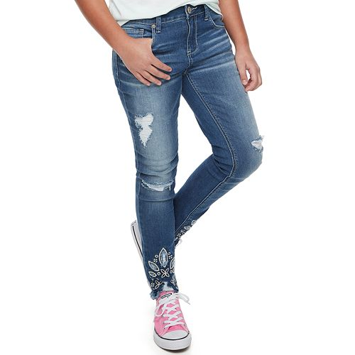 Girls 7-6 Mudd® Distressed Embroidered Skinny Jeans