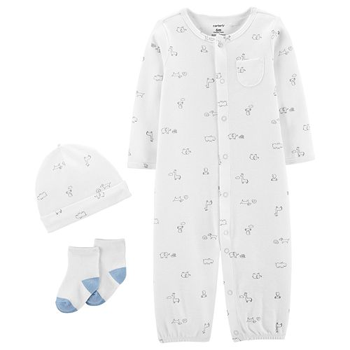 Baby Boy Carter's Take Me Home Jumpsuit/Gown, Hat & Socks Set