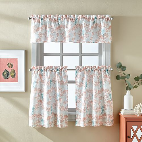 Destinations Coral Tier & Valance Set