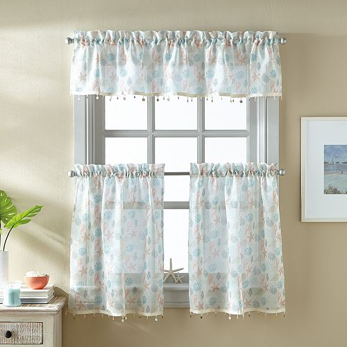 Destinations Seashells Tier & Valance Set