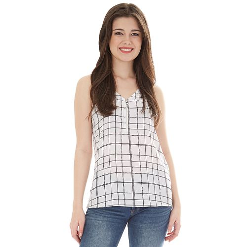 Juniors' IZ Byer Sleeveless Zip Front Top