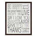 Be Happy Framed Wall Decor