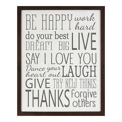 Be Happy Framed Wall Decor