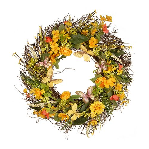 National Tree Company Butterfly Artificial Floral Wreath