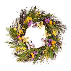 National Tree Company Spring Artificial Mixed Flowers Wreath