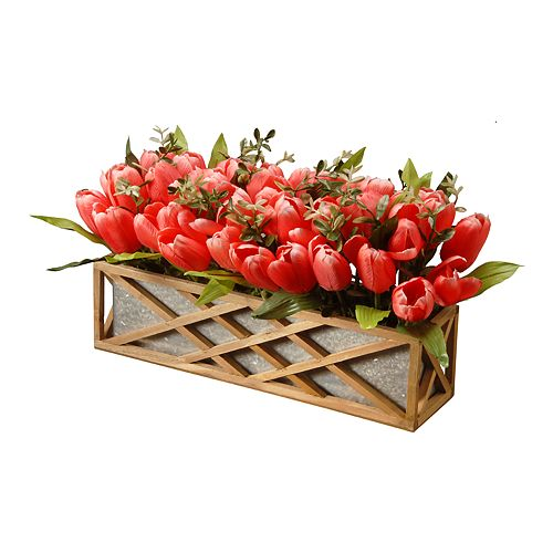 National Tree Company Artificial Pink Tulips Planter Wall Decor