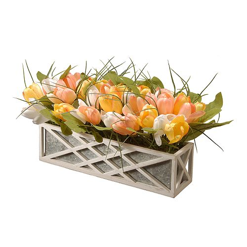National Tree Company Pastel Artificial Tulips Planter Wall Decor