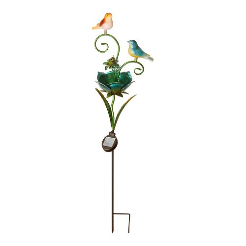 National Tree Company Birds on a Flower Solar Garden Stake