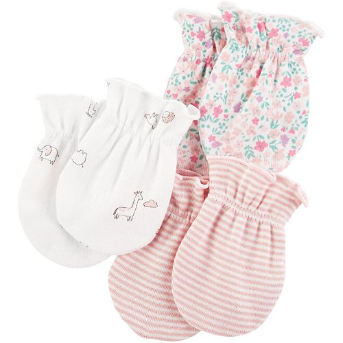 Baby Girl Carter's 3-pack Printed Mitts