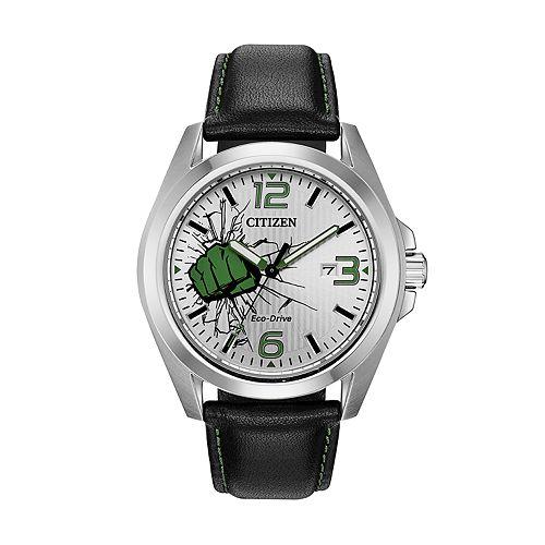 Marvel Hulk Men's Black Leather Watch by Citizen
