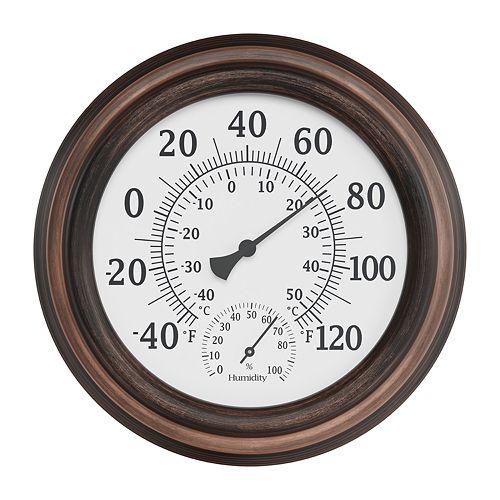 Pure Garden Bronze Temperature and Hygrometer Humidity Gauge