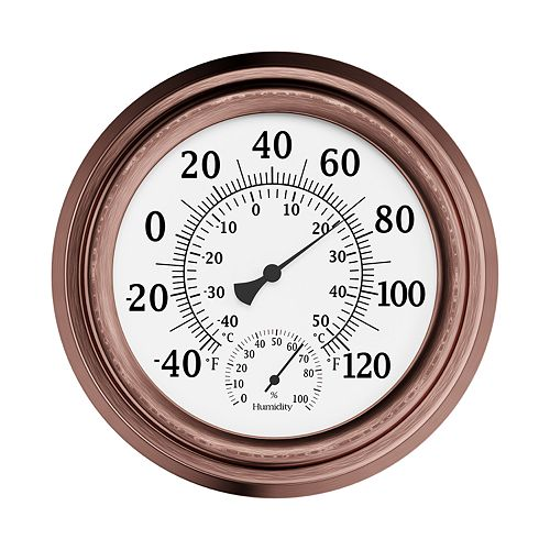 Pure Garden Copper Temperature and Hygrometer Humidity Gauge