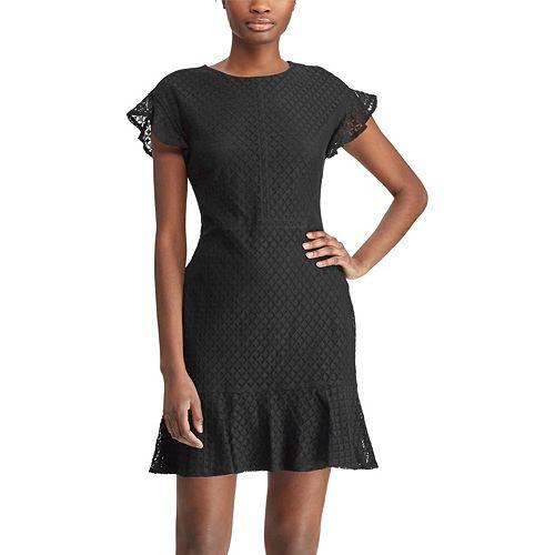 Women's Chaps Lace Flounce Hem Dress