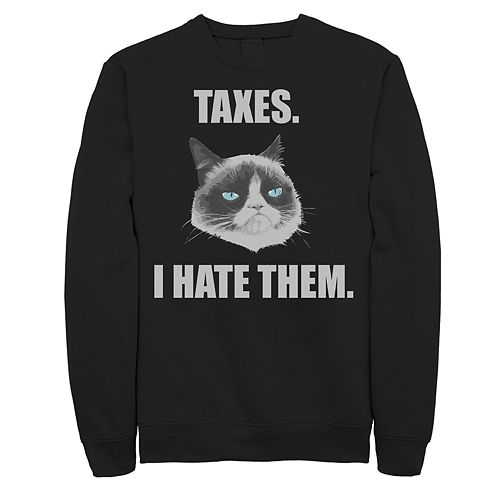 Men's Grumpy Cat Hate Taxes Pullover