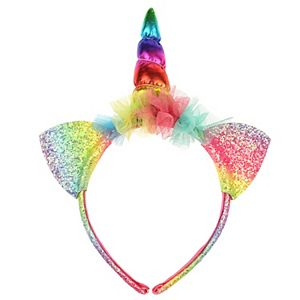 Elli by Capelli Rainbow Glitter Unicorn Headband
