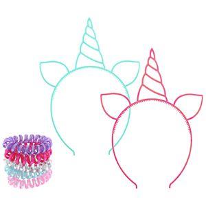 Elli by Capelli Unicorn Headband & Phone Cord Ponytail Holder Set