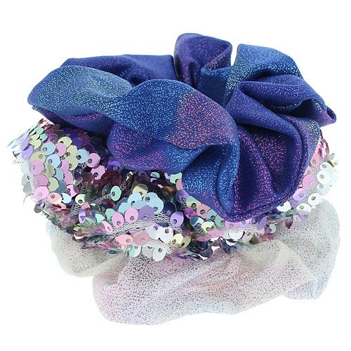 Elli by Capelli 3-pack Flip Sequin & Solid Scrunchies