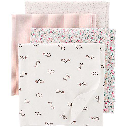 "Baby Girl Carter's 4-pack 30"" x 40"" Receiving Blankets"