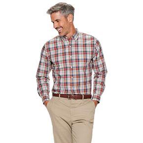 Men's Croft & Barrow® Slim-Fit Easy-Care Long Sleeve Plaid Button-Down Shirt