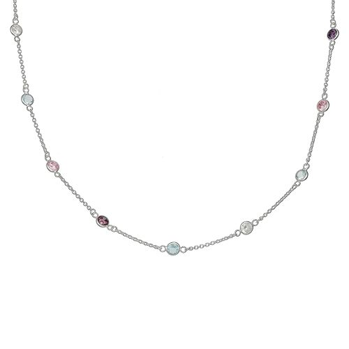 PRIMROSE Rainbow Cubic Zirconia Stationary Necklace