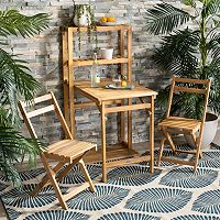 Safavieh Wilton 3-Piece Brown Wood Frame Patio Set