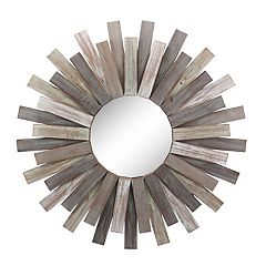 Stonebriar Collection Round Wooden Sunburst Hanging Wall Mirror