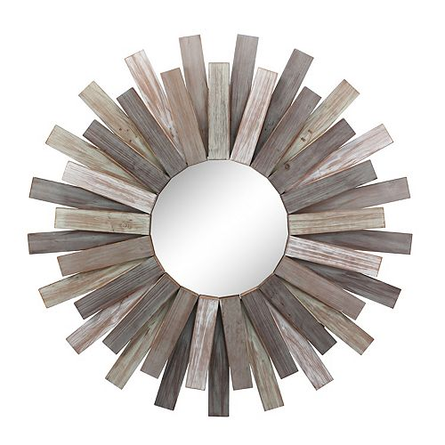 Stonebriar Collection Round Wooden Sunburst Hanging Wall Mirror
