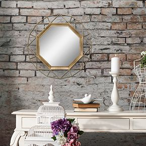 Stonebriar Collection Gold Geometric Hanging Wall Mirror
